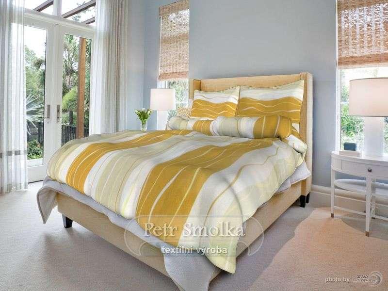 Kvalitní bavlněné povlečení v kombinaci žluté a hnědé barvy s pruhy a květinami Smolka