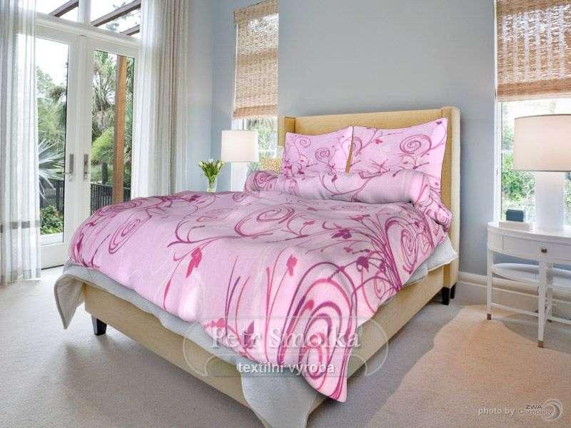 Bavlněné ložní povlečení růžové barvy smolka