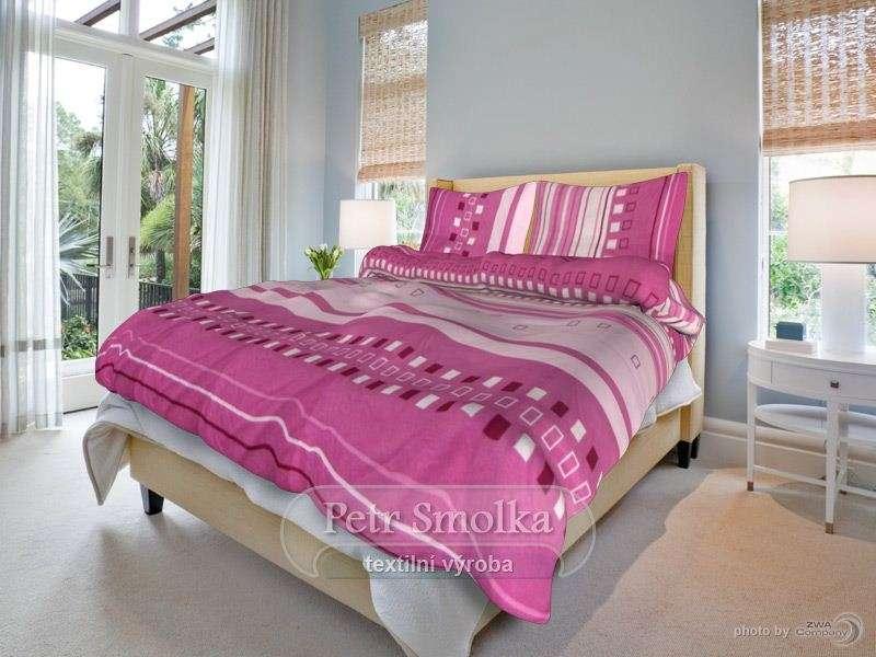 Bavlněné oboustanné povlečení barvy růžové se zajímavým vzorem klasická, francouzká délka - Kamil bordó smolka