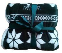 Pěkná deka beránek se zimním vzorem Winter zelená | Deka beránek Winter green 150x200 cm