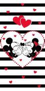 Dětská osuška Mickey a Minnie na pruhovaném podkladu   70/140