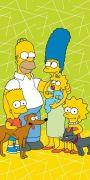 Dětská osuška s rodinou Simpsons na zeleném podkladu   70/140
