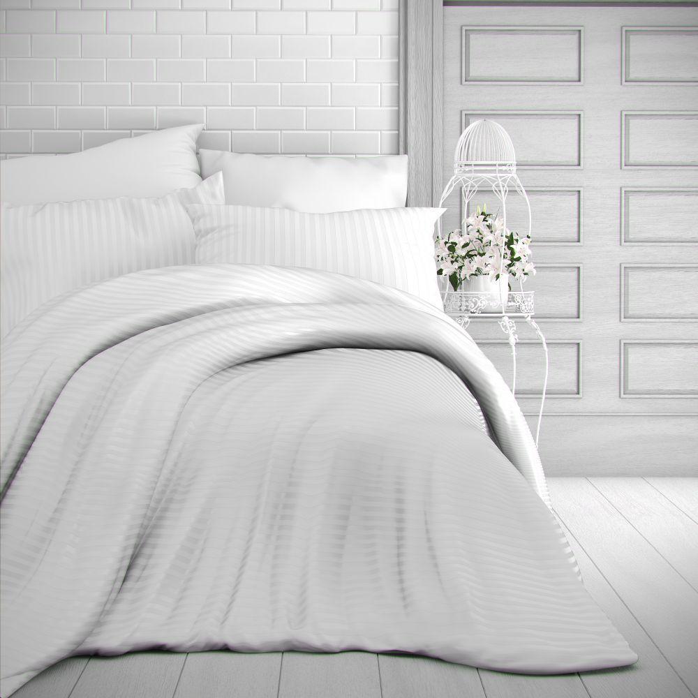 Saténové povlečení bílé s proužky luxusní Kvalitex
