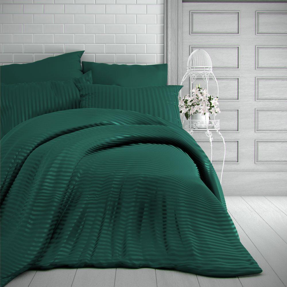 Saténové povlečení tmavě zelené s proužky luxusní Kvalitex