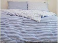 Krepové povlečení selského stylu modré pruhy s kombinací kvítků   1x 140/200, 1x 90/70, 1x 140/220, 1x 90/70