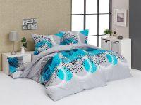 Luxusní krepové povlečení se vzorem kružnic šedé barvy s kombinací tyrkysove   1x 140/200, 1x 90/70