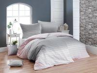 Luxusní krepové povlečení s decentním proužek ombré efektu růžové a šedé barvy   1x 140/200, 1x 90/70