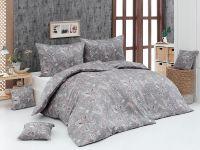 Kvalitní saténové povlečení Florin s romantických vzorem v šedo-pudrové barvy   1x 140/200, 1x 90/70
