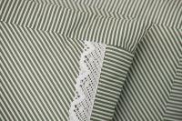 Krepové povlečení oboustranné selského stylu se vzorem proužků olivové barvy
