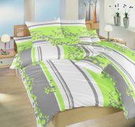 Krepové povlečení zeleno bílé barvy a šedými pruhy | 1x 140/200, 1x 90/70