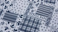 Kvalitní krepové povlečení ve stylu patchwork v modré barvě český výrobce