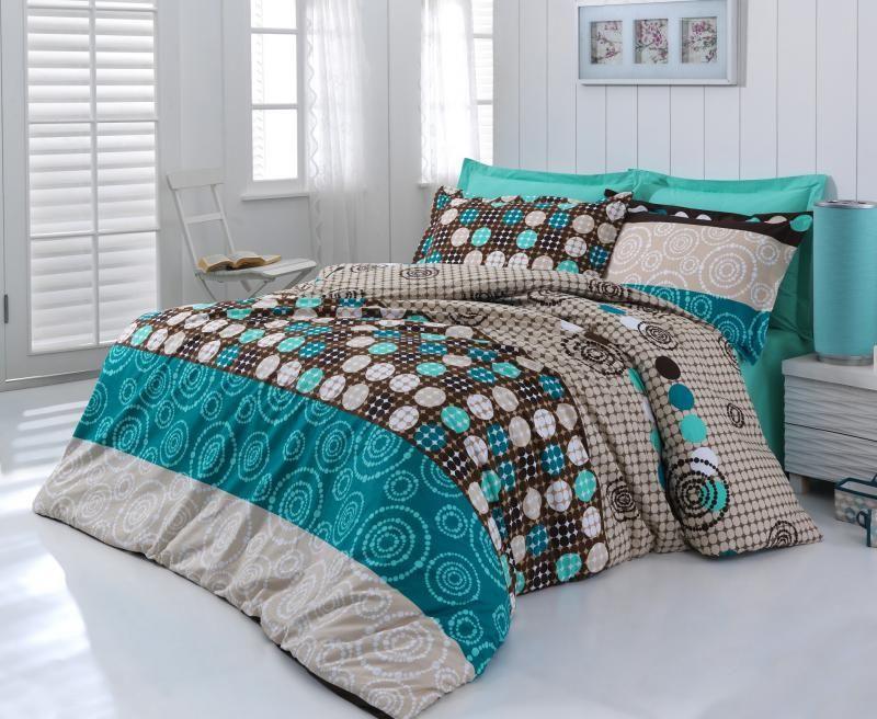 Povlečení z bavlny v kombinaci hnědé, béžové, petrolejové a tyrkysové barvy se zajímavým vzorem Kvalitex