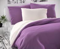 Povlečení saténové fialovo bílé luxusní Kvalitex