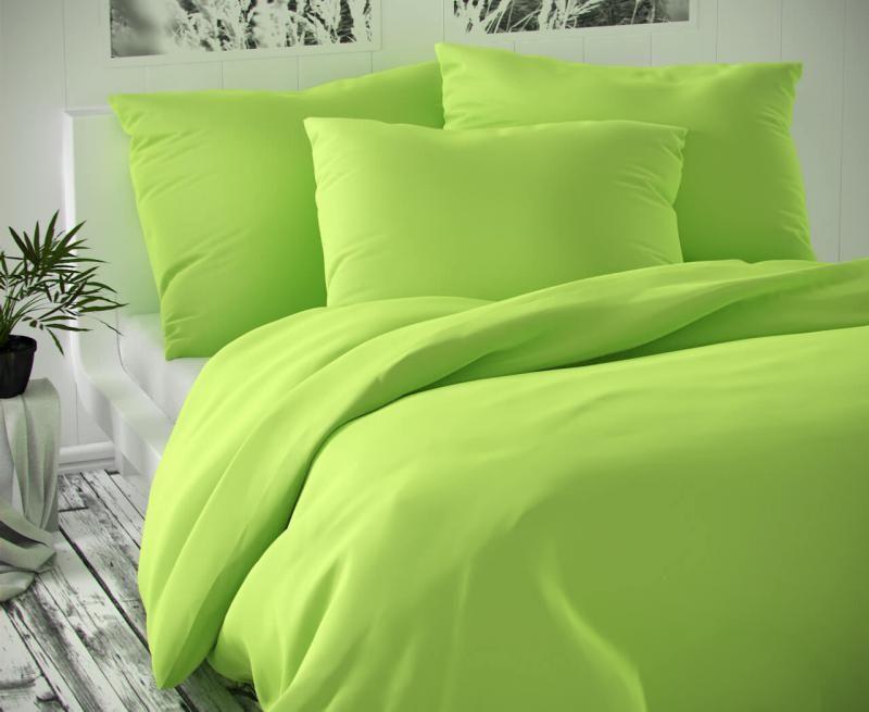 Saténové povlečení zelené luxusní Kvalitex