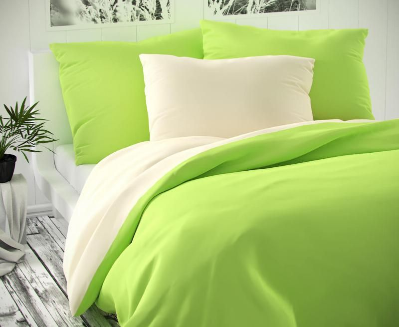 Saténové povlečení zeleno - smetanové luxusní Kvalitex