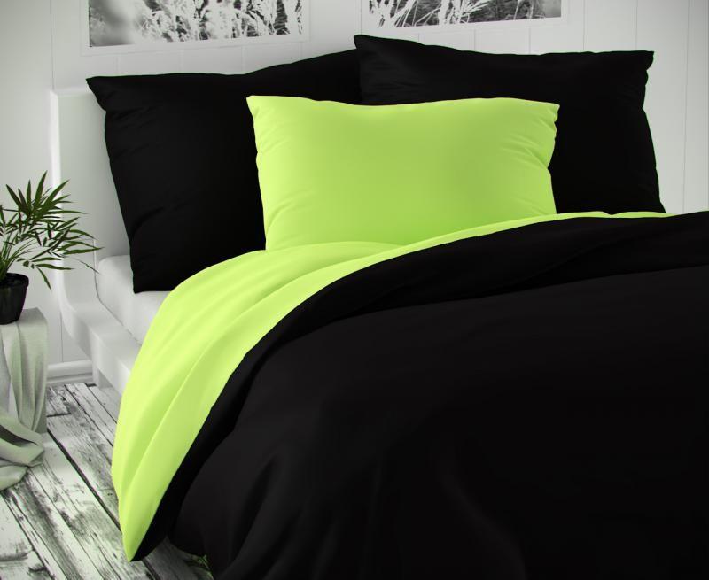 Saténové povlečení zeleno černé luxusní Kvalitex