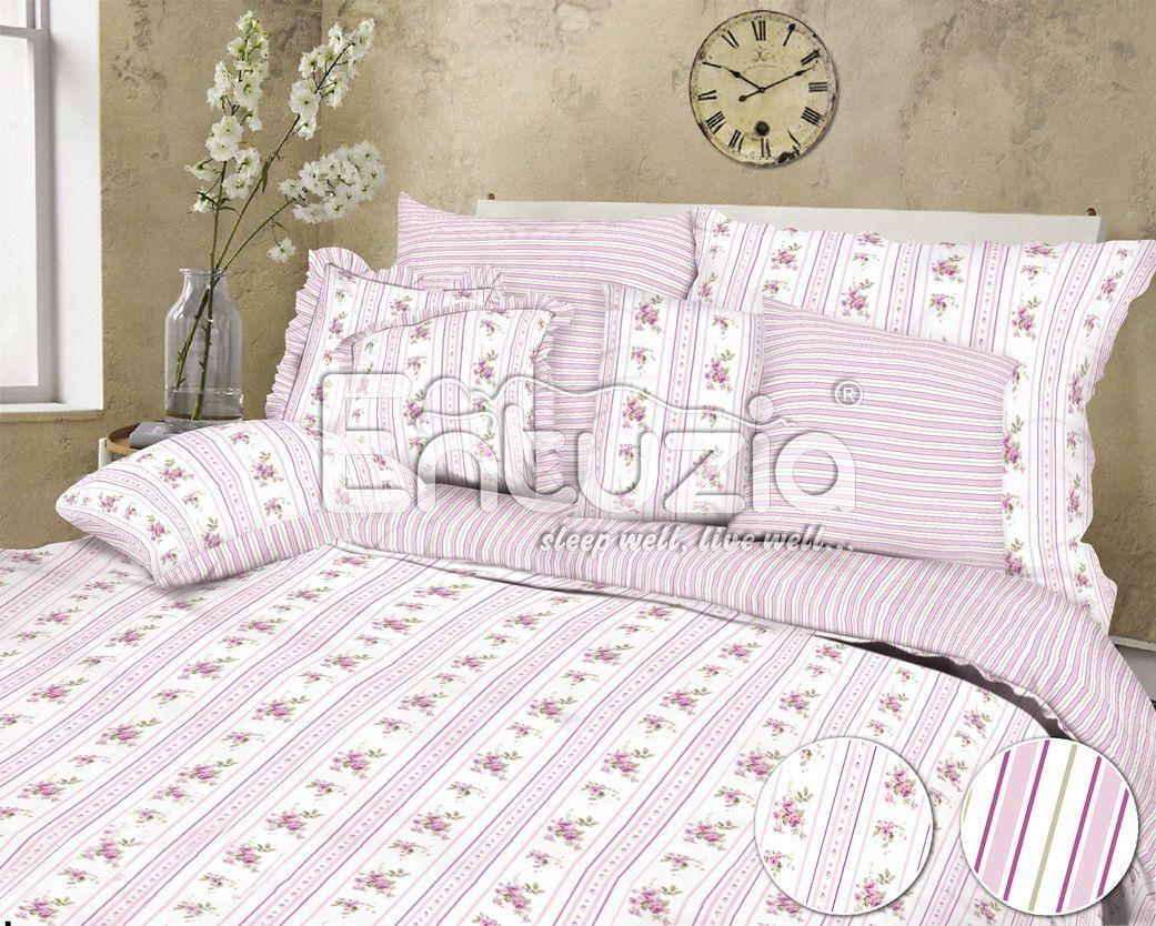 Bavlněné povlečení s malinkými růžičkami a proužky v růžové barvě