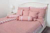 Bavlněné povlečení Puntík růžový s proužkem