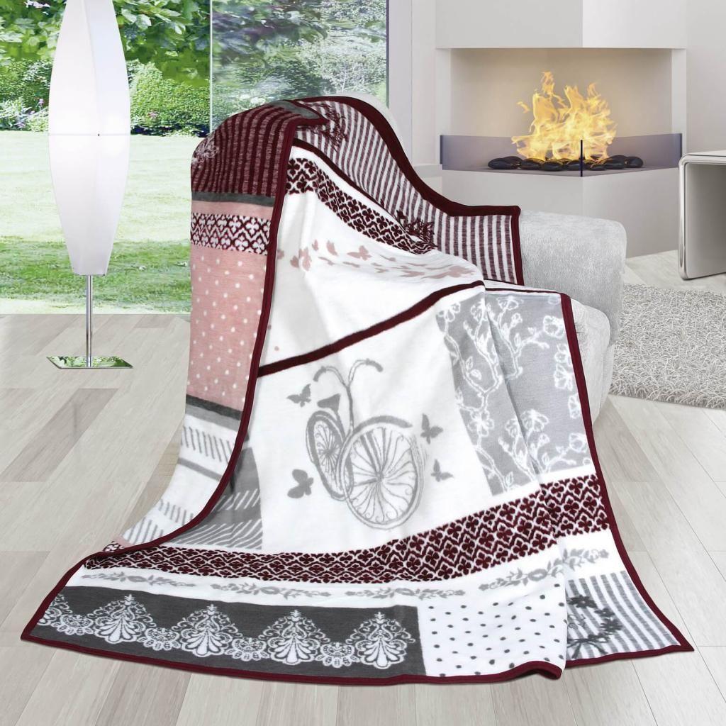 Pěkná hřejivá deka se vzorem kola v šedé a růžové barvě