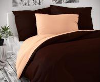 Saténové luxusní povlečení tmavě hnědo-lososové Kvalitex