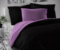 Saténové luxusní povlečení černofialové Kvalitex