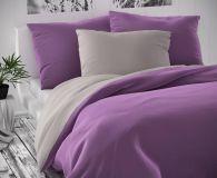 Saténové luxusní povlečení světle šedé s fialovou Kvalitex