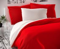 Saténové povlečení červeno bílé luxusní Kvalitex
