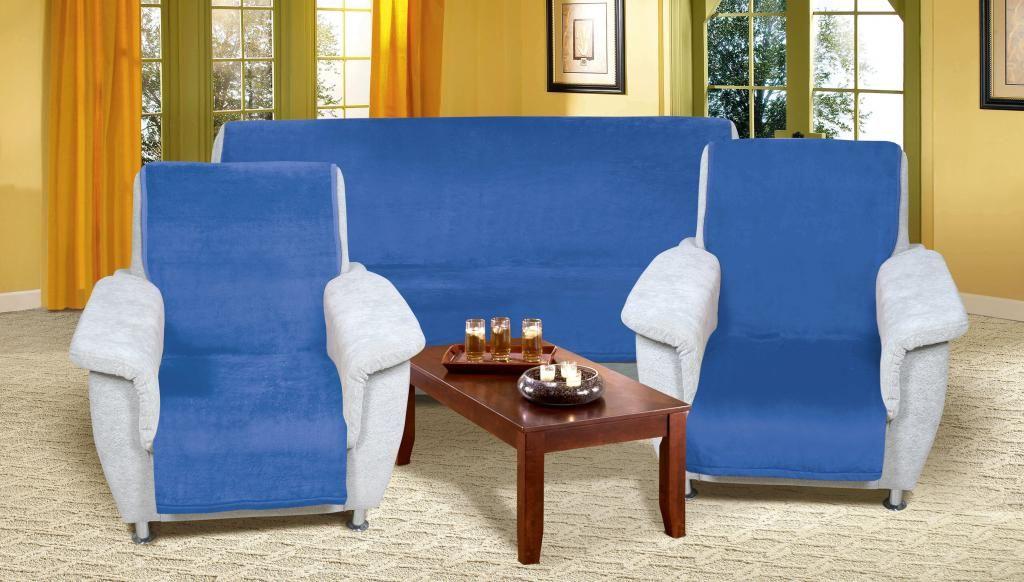 Modrý přehoz na sedací soupravu Micro 3+1+1