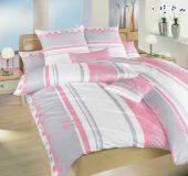 Bavlněné povlečení Tečky růžové 140x200 90x70 cm II.jakost