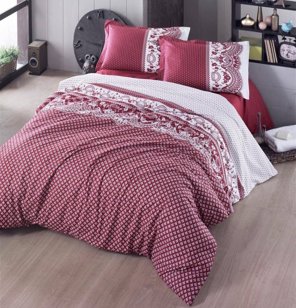 Pěkné bavlněné povlečení ve vintage stylu v červené barvě Kvalitex