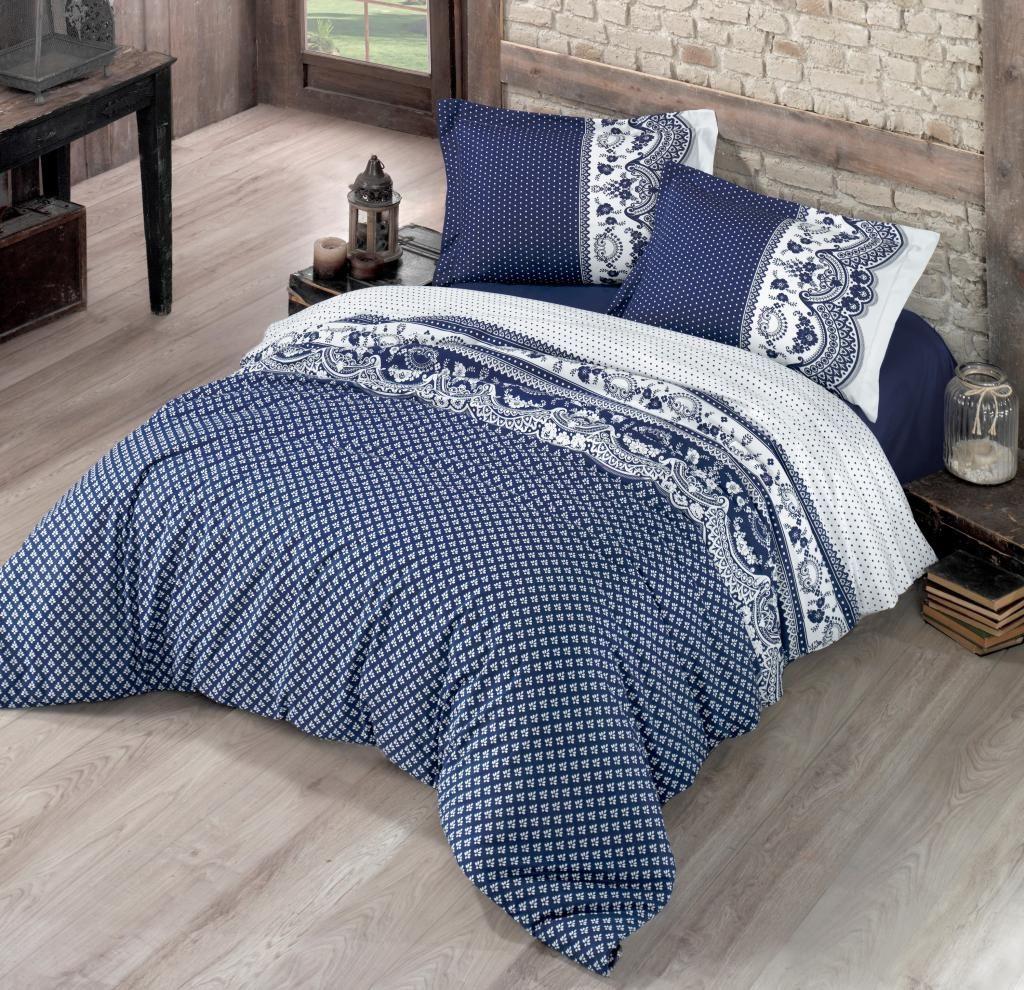 Pěkné bavlněné povlečení ve vintage stylu v modré barvě Kvalitex