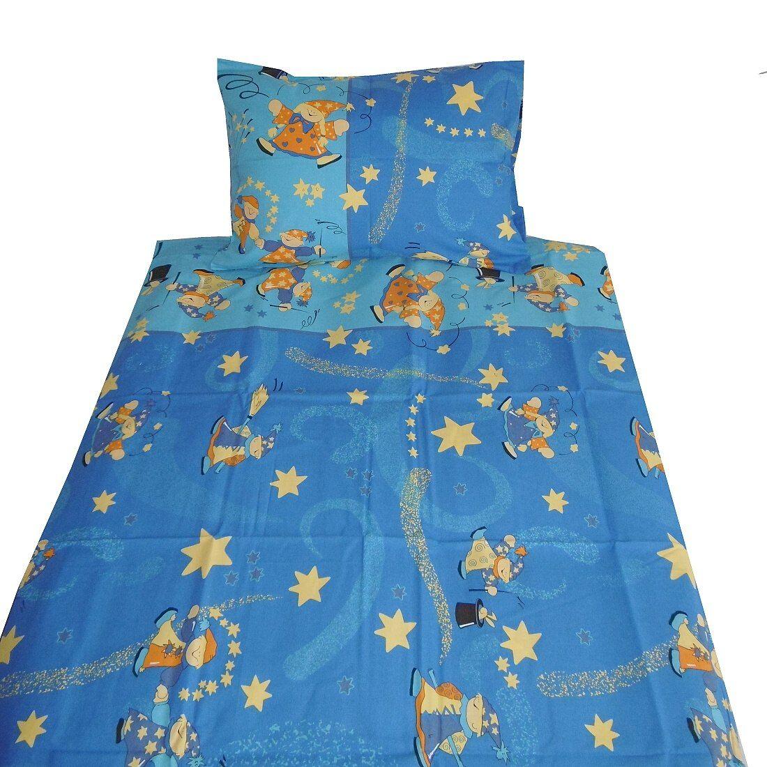Pěkné bavlněné povlečení s kouzelníkem v modré barvě Dadka