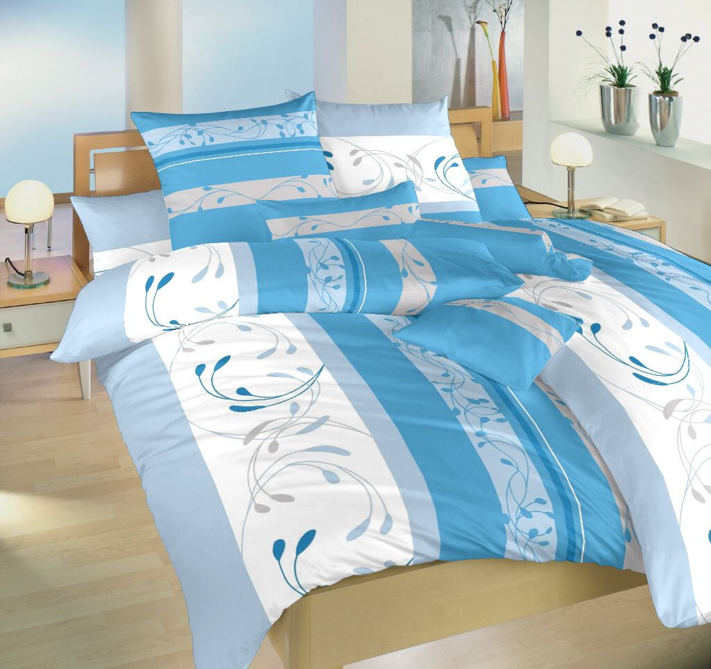 Bavlněné povlečení bílé a modré barvy s jemným vzorem Dadka