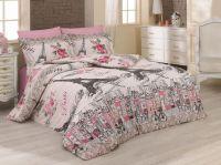 Luxusní povlečení z bavlny v růžové barvě s motivem rozkvetlé Paříže Kvalitex