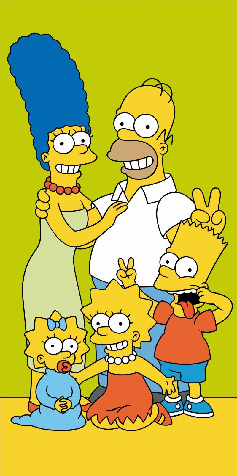 Dětská osuška Simpsons family v zelené barvě Jerry Fabrics