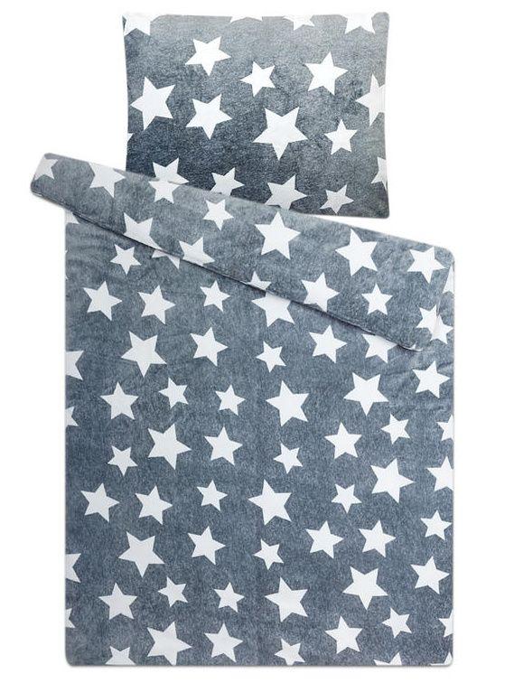 Pěkné mikroflanelové povlečení s hvězdami v šedé barvě Svitap