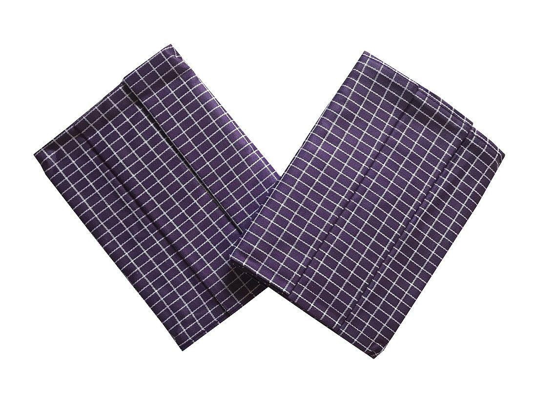 Pěkné bavlněné utěrky s malými fialovo-bílými kostkami Svitap