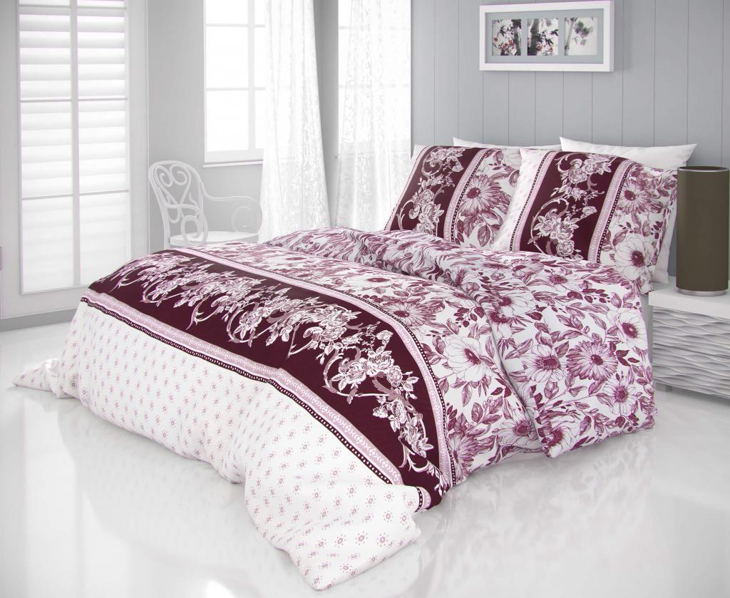Luxusní saténové povlečení se vzorem květů vínové barvy na bílém podkladu Kvalitex