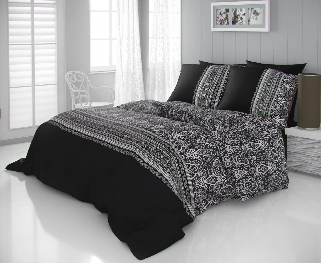 Luxusní saténové povlečení s ornamenty černobílé barvy Kvalitex