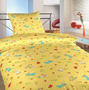 Dětské bavlněné povlečení do postýlky žluté barvy s motivem oveček, motýlků a kytiček | 1x 130/90, 1x 45/60