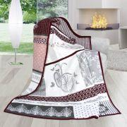 Pěkná hřejivá deka se vzorem kola v šedé a růžové barvě | 150/200