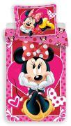Bavlněné povlečení pro dívky s motivem Minnie na růžovém podkladu   1x 140/200, 1x 90/70