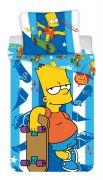 Bavlněné povlečení Bart skate na bílo-modrém podkladu | 1x 140/200, 1x 90/70