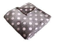 Heboučká soft deka šedé barvy s růžovým puntíkem | 150/100, 150/200
