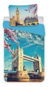 Pěkné bavlněné povlečení s motivem velkoměsta London blue | Povlečení fototisk London blue 140x200, 70x90 cm