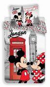 Bavlněné povlečení Minnie a Mickey Mouse v Londýně s telefonní budkou   1x 140/200, 1x 90/70