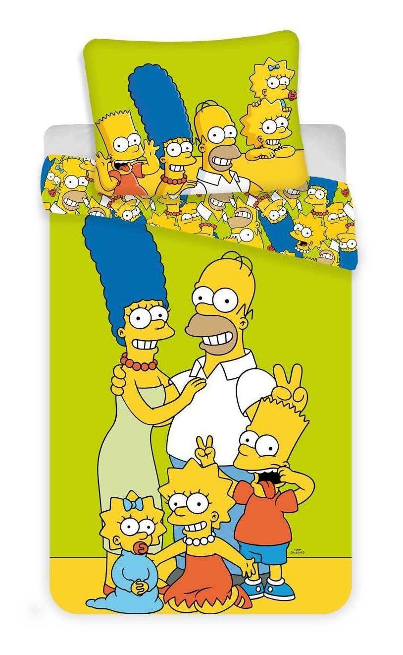 Dětské povlečení Simpsons rodina žluto-zelené barvy Jerry Fabrics